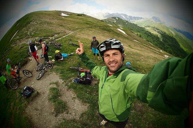 Col D Allos for some apres race fun riding with friends.