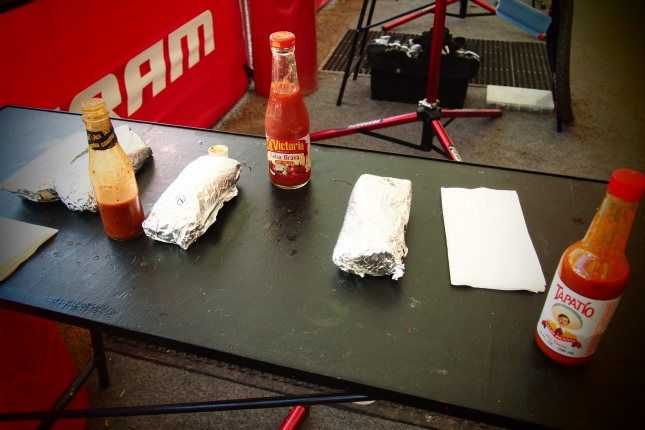 Burrito's & Hot sauce in the pits.