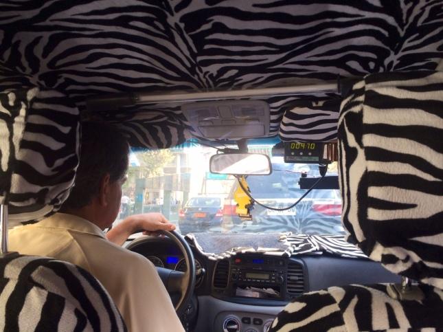 Santiago taxi interior.